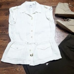 Worth Ivory Linen Button Down Toggle Waist Blouse